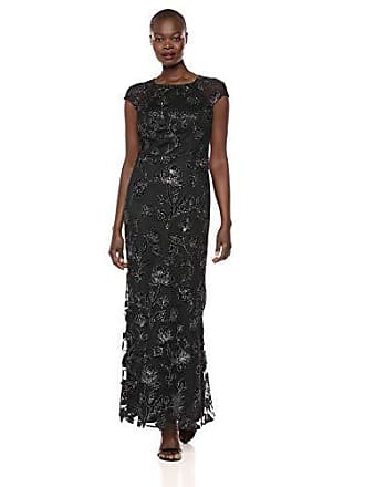 Ignite Womens Sequined Lace Gown Dress, Black/Gunmetal 10