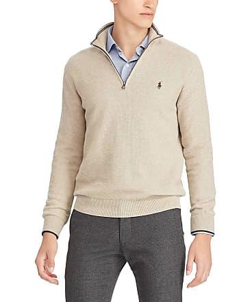 5b282f83272 Polo Ralph Lauren Pull en coton pima piqué col montant zippé Beige Polo  Ralph Lauren