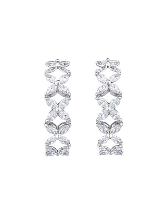Fantasia Sterling Silver Marquise Cut Flower Hoop Earrings