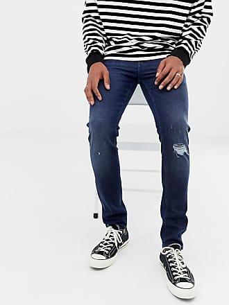 Asos Schwere Skinny-Jeans in dunkler Waschung mit Zierrissen an den Knien,  14 oz 6b564b6575