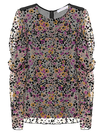 See By Chloé Flocked velvet printed silk top