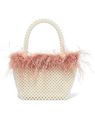 2d001c54cb522 Loeffler Randall Mina Small Feather-trimmed Faux Pearl Tote - White