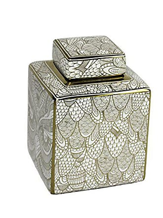 Sagebrook Home 12058-01 Decorative Ceramic Covered Jar, White/Gold Ceramic, 6 x 6 x 8 Inches