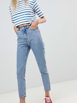 f71d790401 Monki Kimomo - Jean mom taille avec coton bio - Bleu moyen - Bleu