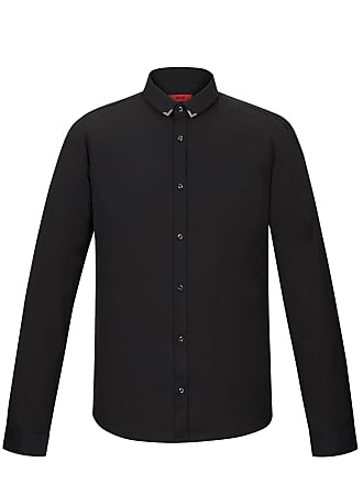 HUGO BOSS Slim-fit cotton shirt with metal collar tips