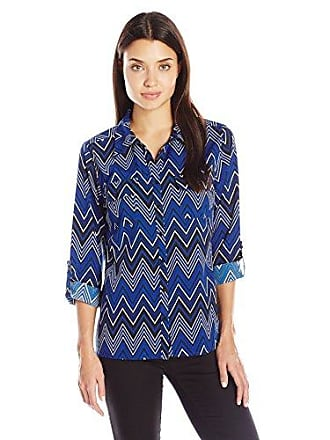 6b36ec91 Notations Womens 3/4 Roll Tab Y Neck Point Collar Button Down Blouse,  Sapphire