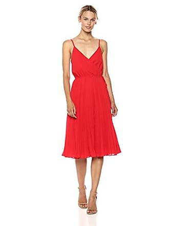 Ali & Jay Womens Wrap Top Pleated Fit & Flare Sleeveless Dress, red, S