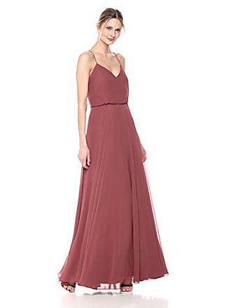 ef06b00673b2 Jenny Yoo Womens Inesse Thin Strap V Neck Long Chiffon Gown, Cinnamon Rose,  8