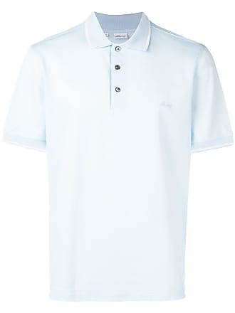 Brioni embroidered chest logo polo shirt - Azul