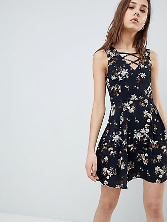 0bd2fc67e8e510 Qed London Floral Skater Dress With Lace Up Detail
