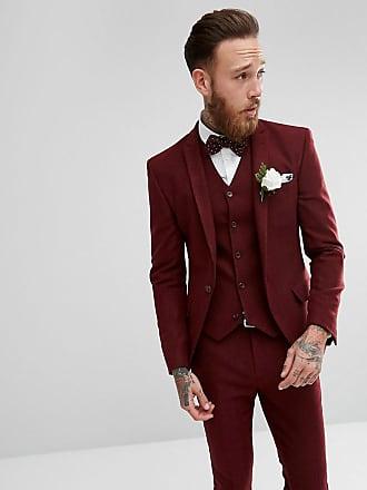 Asos Vinröd fiskbensmönstrad kostymjacka i extra smal passform till  bröllopet - Vinröd e981e54a05b94