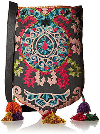 ále by Alessandra Womens Suzani Embroidered Tribal Bag With Tassels, Multi, One Size