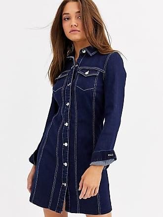 Lipsy Vestito sartoriale di jeans a maniche lunghe blu
