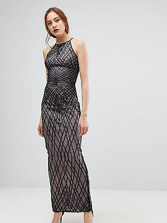 916e28f7e0f Little Mistress Tall Sequin Print Maxi Dress With Cross Back