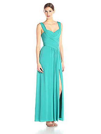 Bcbgmaxazria BCBGMax Azria Womens Thora Pleated Gown with V Neck, Bright Emerald, 0