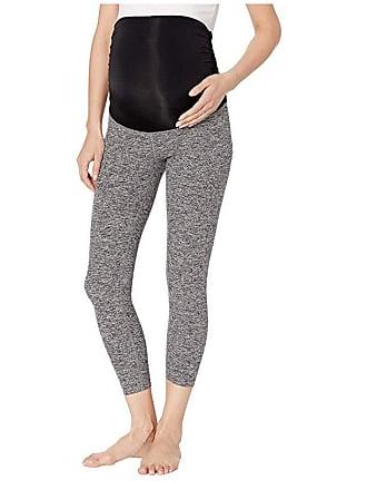 ddbc091639b69b Beyond Yoga Fold Down Maternity Capri Leggings (Black/White Space Dye)  Womens Casual