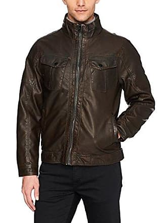 William Rast Mens Faux Leather Vintage Jean Jacket, Brown, Large