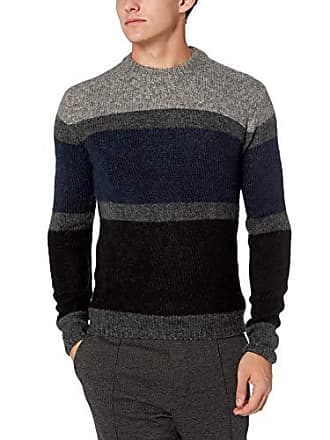 36d9ba48c357d7 French Connection Mens Long Sleeve Mohair Stripe Sweater, Utility  Blue/Charcoal, XXL