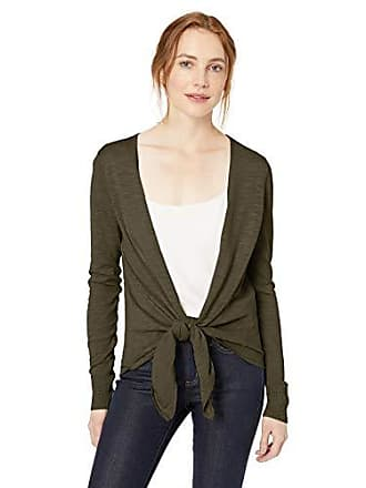 Daily Ritual Womens Lightweight Tie-Front Cardigan, Dark Olive, X-Small