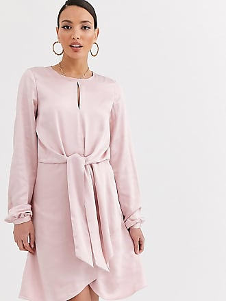 Y.A.S. Tall Oichi long sleeve knot front satin mini dress-Pink