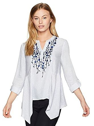 e275eb2c648 Ruby Rd. Womens Petite Embroidered Stripe Tunic with Sharkbite Hem, Vanilla  Multi, PL