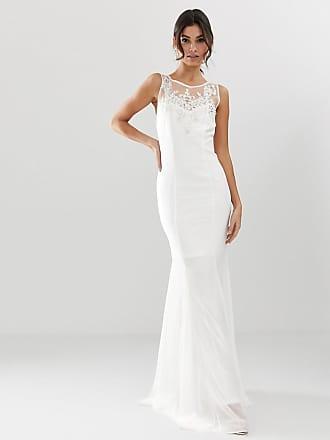 a3d1edbcaf47 City Goddess Vestito lungo da sposa con fondo a coda di rondine e  decorazioni - Bianco