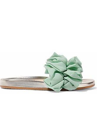 6110f19ed Charlotte Olympia Charlotte Olympia Woman Naia Ruffled Organza-appliquéd  Suede And Metallic Leather Slides Mint