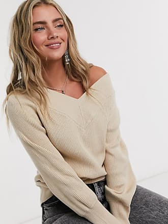 Object ribbed jumper with v neck in beige
