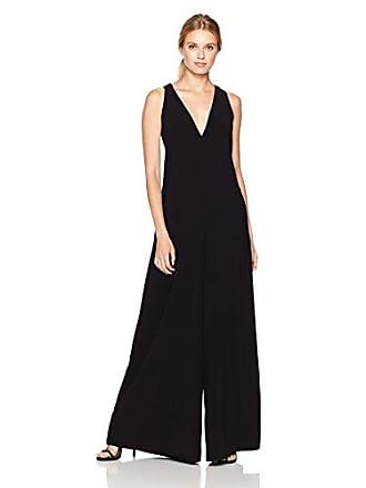 09b3cc3a71b Halston Heritage Womens Sleeveless V Neck Flowy Jumpsuit with Back Sash