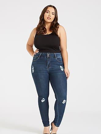 Alloy Apparel Plus Size Skinny Wide Waist Jean-Dark Wash Ripped 16/32 - Cotton