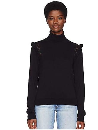 Kate Spade New York Key Pieces Ruffle Turtleneck Sweater (Black) Womens Sweater