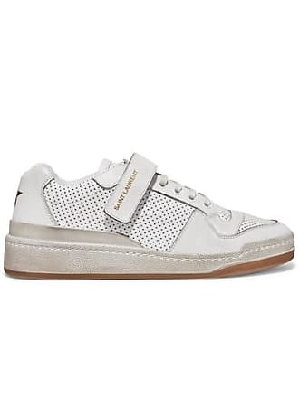 62f26fb1e2f Saint Laurent Travis Logo-print Distressed Perforated Leather Sneakers -  White