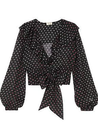 Temperley London Temperley London Woman Tie-front Ruffled Polka-dot Silk-chiffon Blouse Black Size 18