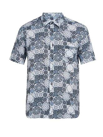 120% Lino Floral Print Short Sleeved Linen Shirt - Mens - Blue Multi