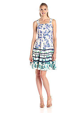 dcbe0eb8d357 Julian Taylor Womens Sleeveless Floral and Striped Flare Dress,  Taupe/Periwinkle, 14. In high demand