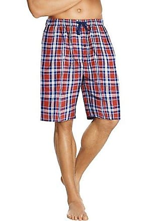 Hanes Mens Woven Plaid Shorts 2-Pack Solid Blue/Orange Blue 2XL
