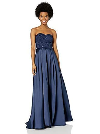 Speechless Juniors Lace to Tafetta Full-Length Formal Prom Dress, Navy, 3