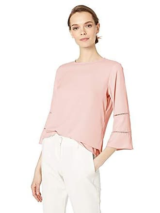 Calvin Klein Womens Flare Sleeve Blouse with Lace Detail, Rose, Medium