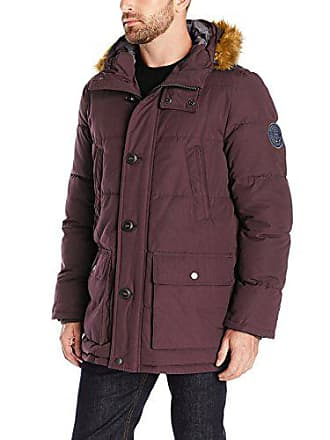 Tommy Hilfiger Mens Arctic Cloth Full Length Quilted Snorkel with Removable Faux Fur Trimmed Hood and Ultra Loft Isulation, Burgundy, M