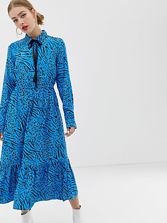 Only bright animal print maxi shirt dress - Multi
