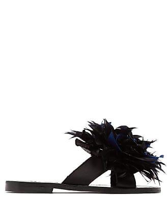 ÁLVARO GONZÁLEZ Antoniona Feather Trimmed Leather Sandals - Womens - Black Navy
