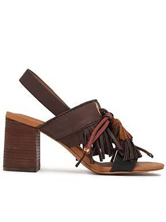 2df5f6a43f61 See By Chloé See By Chloé Woman Tasseled Leather And Suede Slingback Sandals  Chocolate Size 35