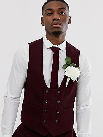 df18d3c0d489 Asos Wedding - Gilet da abito super skinny in twill bordeaux - Rosso
