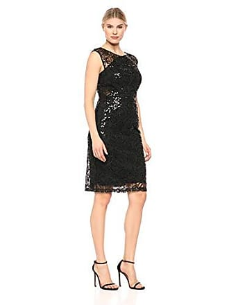 Ignite Womens Sequined Lace Short Dress, Black, 12