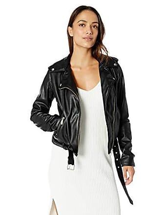Yoki Womens Faux Leather Moto Jacket, Black XL