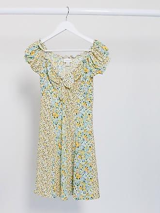 Topshop ditsy tie front mini dress in multi