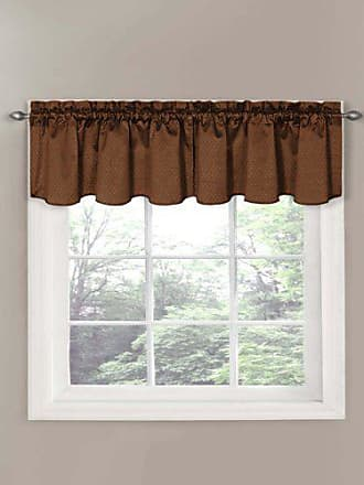 Eclipse Canova 42-Inch by 21-Inch Thermaback Blackout Scallop Valance, Chocolate