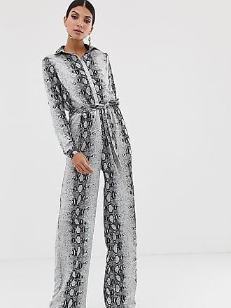6ca3c0a40499 Missguided Tall Tuta jumpsuit a fondo ampio con stampa effetto serpente -  Multicolore
