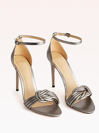Alexandre Birman Vicky 100 Sandal - 35.5 Graphite Metallic Leather