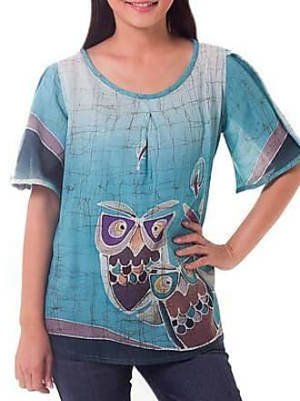 Novica Cotton tunic, Owl Adventures - Hand Painted Womens Top